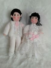 Knitted BRIDE AND GROOM bride white dress, Groom  White suit pink roses bouquet