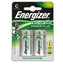 Genuine 2X Energizer taille C 2500 mAh batterie rechargeable NiMH LR14 HR14 DC1400