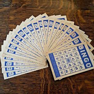 "Vintage Cardboard Bingo Cards Aged Blue 23 pieces 6"" x 3 13/16"" Crafts Altered"