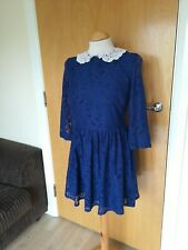 Ladies TOPSHOP Dress Size 10 Blue Lace Collar Skater Smart Casual Day Party