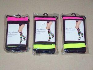 New LEG AVENUE Neon Rainbow Striped Leg Warmers dance wear club work office Set