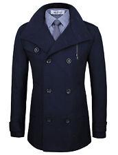 Tom's Ware Mens Stylish Fashion Classic Wool Double Breasted Pea Coat( TWCC08)