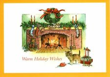 Cuddly Kitten By Cozy Fireplace Merry Christmas Greeting Cards - Set of 18