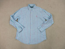 Ralph Lauren Polo Button Up Shirt Adult Large Blue Pink Striped Pony Casual Mens