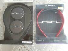 SOL REPUBLIC V8 On The Ear Headphones BLACK + Interchangeable RED Headband