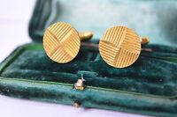 Vintage Gold Art Deco cufflinks with Diamond cut style #C6