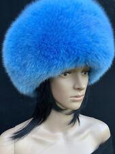 SALE! Fox Fur Full Round Hat Saga Furs Regular Size Light Bright Blue Fur Hat