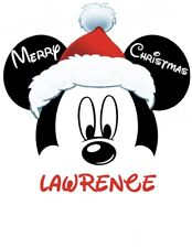 CHRISTMAS DISNEY MICKEY MOUSE*** PERSONALIZED****FABRIC/T-SHIRT IRON ON TRANSFER