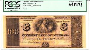 New Orleans, LA- Citizens' Bank of Louisiana $100 PCGS Very Choice New 64