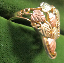 Ladies 10K & 12K Solid Gold Size 7 3/4 Ring With 8 Rose/Green Gold Leaves