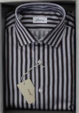 Brioni NWT 100% Cotton Navy Light Blue Burgundy Striped Dress Shirt 40 15 3/4