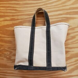 VINTAGE LL BEAN BOAT AND TOTE BAG WHITE WITH NAVY BLUE TRIM Made In The USA