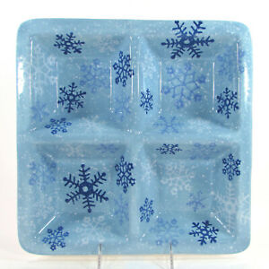 """Target Home WINTER FROST SNOWFLAKES 12"""" Square Sectional Platter Blue Christmas"""