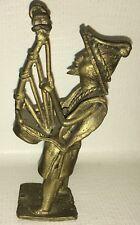 """Vintage Chinese Japanese Metal Sculpture Man Playing Instrument Harp 5.25"""""""