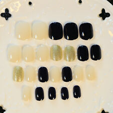 Free Shipping 24pcs Black Gold White Mix Nail Ttips Full False Fake Nail Tip