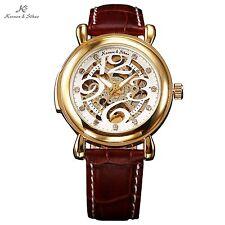 KS Royal Carving Gold Case White Dial Men Automatic Skeleton Mechanical Watch
