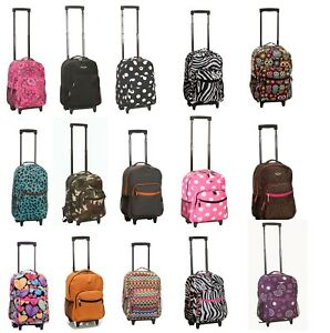 """Deluxe Wheel Backpack Rolling 17"""" Carry on Travel Luggage Travel Bag School"""