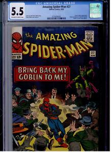 Amazing Spider-Man #27 CGC 5.5 OW/WHITE  Green Goblin, Crime Master (looks 6.0)