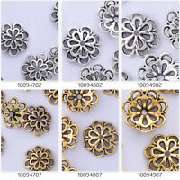 50 Filigree Flower Bead Caps Spacer Jewelry Findings Charms European Beads