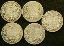 1902H 1905 1907 1910 1917 Canada 25 Cents Lot of 5 Silver 92.5% #6432