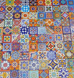"100 Mexican Talavera Ceramic Tiles 4 x4"" MIXED Designs Handmade Folk Art"