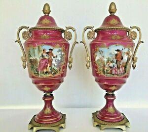 Pair (2) Antique German Pink HP Figural Raise Gold Ormolu Vase Urn Artist Signed