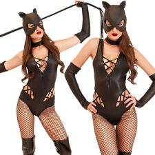 Sexy Faux Leather Teddies Lingerie Catsuit Bandage Clubwear Catwomen Bodysuit
