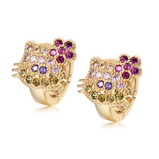 Cute Babys Little Girls Cat Yellow Gold Plated Crystal Hoop Earrings Fashion