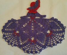 Crochet Crinoline Lady Doily - Purple and Red