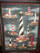 """Lighthouse Wall/Lap Quilt, Embroidered, Handmade MK Design,Gift, 27""""x """"36"""
