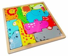 Kids Animal Block Puzzle Game. Wooden Childrens Jigsaw Tangram Animal Toy