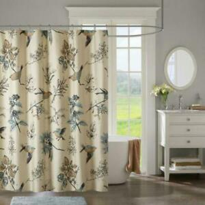 Madison Park Bird Printed Cotton Shower Curtain With Khaki Finish MP70-4246