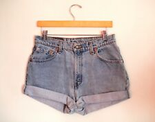 Vintage LEVI'S Light Blue Wash High Waisted Rise Cut Offs Cuffed Denim Shorts 31