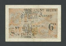 More details for jersey  6d  1942  wwii  p1  f-vf  banknotes
