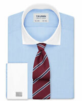 T.M.Lewin   Slim Fit Blue Contrast Collar Double Cuff Shirt