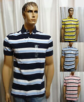 Tommy Hilfiger mens TH Flag STRIPED classic fit cotton pique polo shirt S L NEW