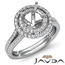 Diamond Engagement Halo Pave Ring Round Semi Mount 1.55Ct 14k W Gold Split Shank