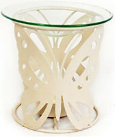 CREAM Oil Burner METAL SHABBY CHIC  & YANKEE CANDLE WAX TART butterfly hearts