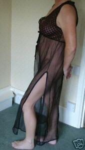 sheer nylon nightdress in black with lace trim 10/12