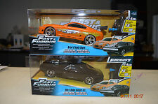 Lot of 2 JADA RC CAR FAST & FURIOUS BRIAN'S TOYOTA SUPRA & DOM'S DODGE CHARGER