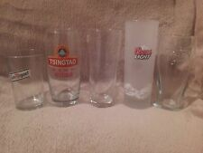 5 X Half Size LAGER GLASSES  All different FREE POSTAGE