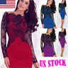 Womens Elegant Patchwork Casual Work Office Business Party Bodycon Pencil Dress