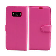 Plain Pink Leather Wallet Book Protect Phone Case for Apple iPhone 4 5 6 7 8 & X Samsung S6 Edge - G925