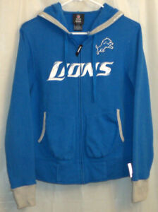 NFL Reebok Detroit Lions Hoodie Jacket Women's Small S Blue Full Zip Long Sleeve