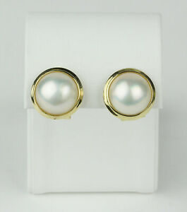 14k Yellow Gold and Mabe Button Pearl French Clip Stud Earrings