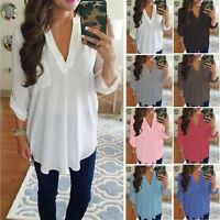 GN- Women Sexy V Neck Long Sleeve Chiffon Shirt Pocket Tops Plus Size Blouse Clo