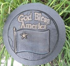 """patriotic God Bless America stepping stone  mold plastic mould 10"""" x 1"""" thick"""