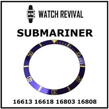 GENERIC BLUE GOLD BEZEL INSERT FOR ROLEX SUBMARINER 16613 16618 16803 16808