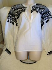 Dodo Bar Or Nwt Gorgeous Embellished Cotton Gauze Top Size Large