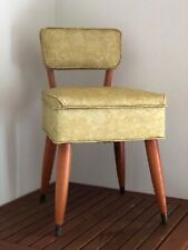 Vintage Mid Cent Sewing Chair w/Storage Seat Gold Tapestry Vinyl Wood